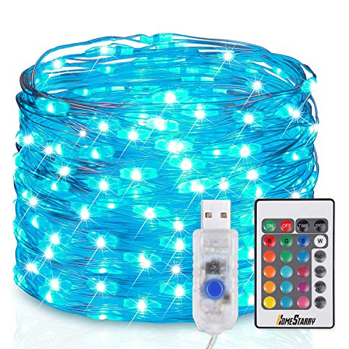 Homestarry USB Plug-in LED Fairy String Lights with Remote 33 ft Firefly Twinkle Lights 100 LEDs Multicolor Silver Wire Waterproof Lights for Bedroom Party Decoration Wedding,16 Colors Option