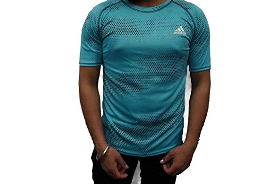 5122e40b34a3e9 SMENTER Hidden Zip Lycra Half Sleeves Panel Sky Blue T-Shirt (Air ...