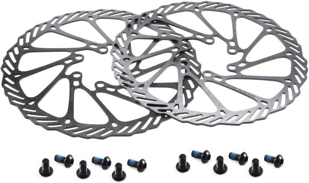 CYSKY Rotor de Freno de Disco de 180 mm 2 Paquetes Rotor de Freno de Disco de Bicicleta de Acero Inoxidable 6 Pernos para la mayoría de Las Bicicletas de Carretera Bicicleta