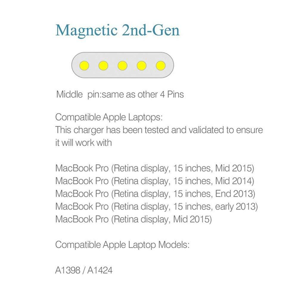 Compatible con Macbook Pro cargador 85W Magsafe 2 de para Mac Pro Retina 13