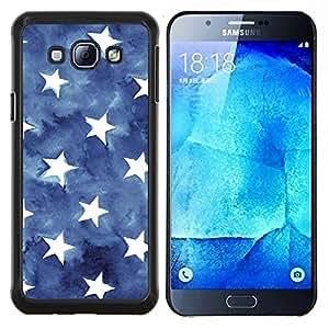 Eason Shop / Premium SLIM PC / Aliminium Casa Carcasa Funda Case Bandera Cover - Stripes USA azul de la bandera americana - For Samsung Galaxy A8 ( A8000 )