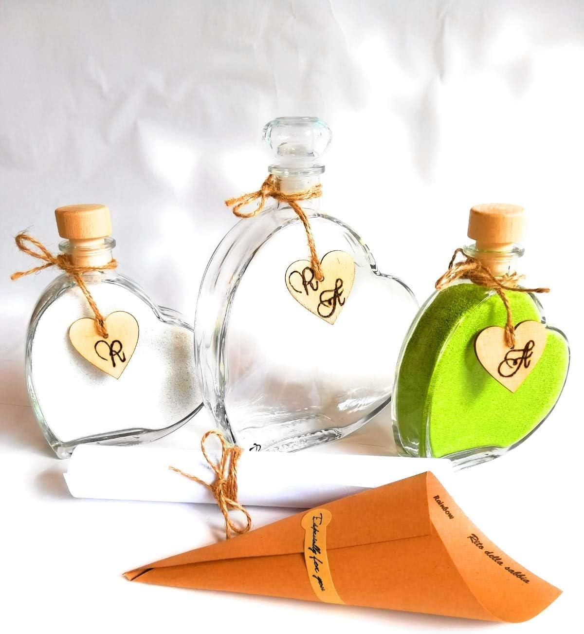 Set 4 vasi Matrimonio Rito Sabbia Cerimonia 3 Conf Sabbia personalizzazione