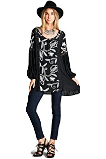 0d3df4a4757 Velzera Crochet Detail Baby Doll Tunic Dress Boho Chic Plus Size (2X ...