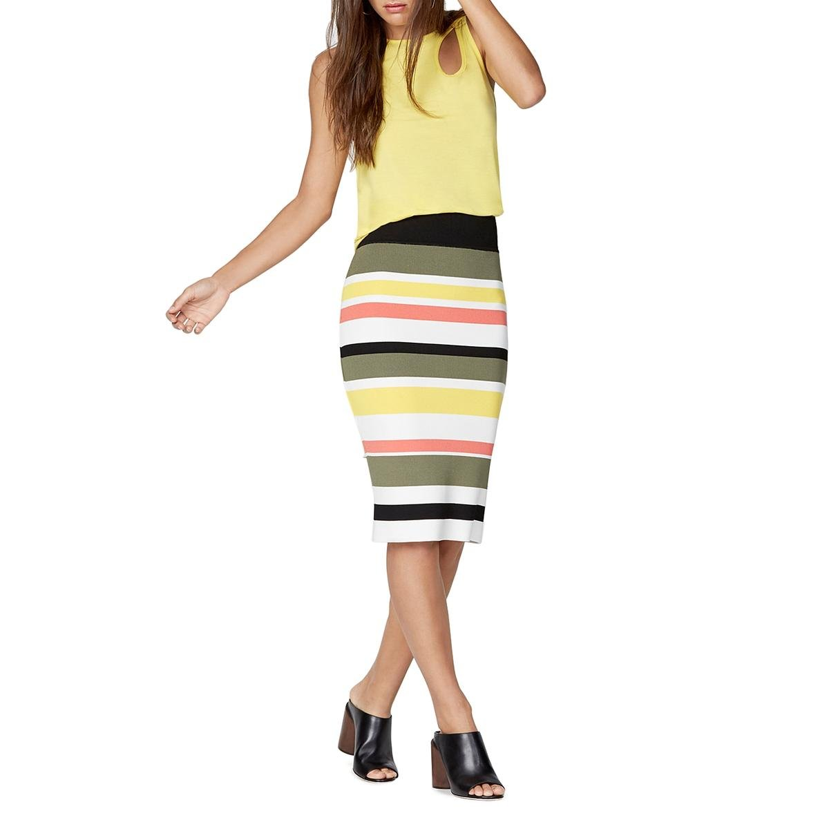 Bailey 44 Womens Knit Striped Pencil Skirt Yellow S