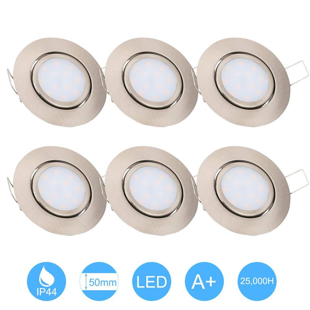6W Recessed Spotlight LED Downlight Open Hole Size 70-75mm IP44 3000K Warm White Matt Nickel (no Driver Needed) for Bathroom/Shower/Soffits/Kitchen (6pcs)