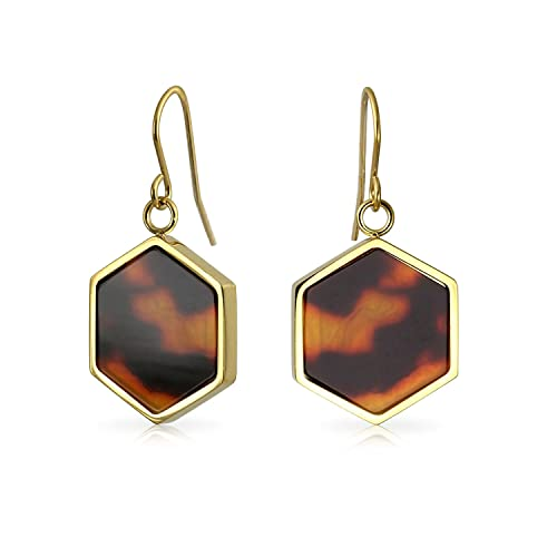 b9af4104fab Amazon.com  Hexagon Shaped Tortoise Shell Dangle Drop French Wire ...