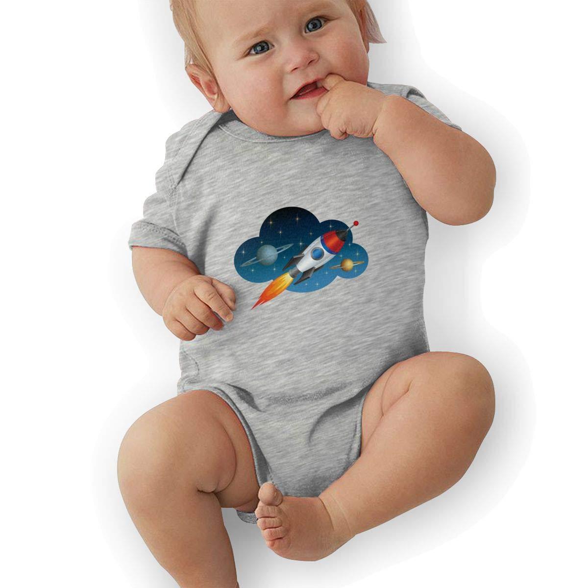 Toddler Baby Boys Bodysuit Short-Sleeve Onesie Rocket Print Jumpsuit Winter Pajamas