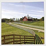 Cotton Microfiber Hand Towel,Farm House Decor,Long Photo of Flowing Fence of Country House in Rural Grassland Ranch Pastoral,Multi,for Kids, Teens, and Adults,One Side Printing