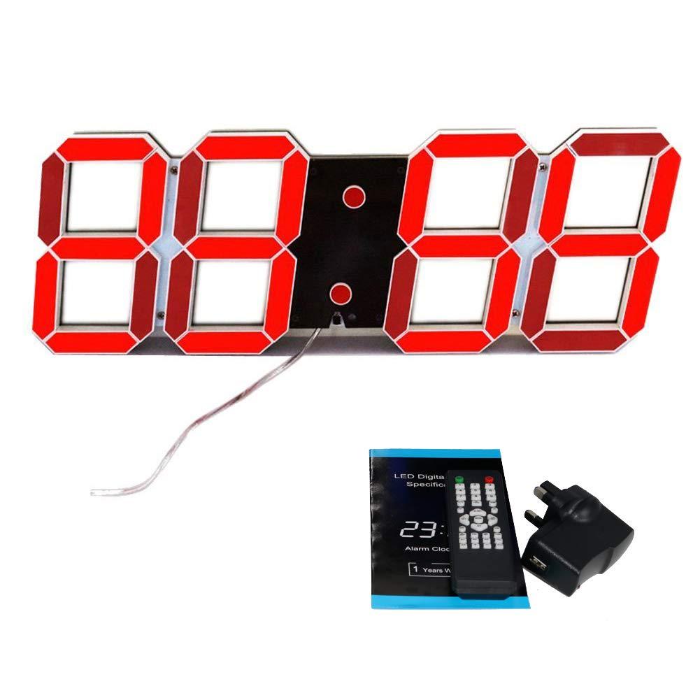 T Tocas 44cm Jumbo großen Zahlen Digital LED Wand befestigter Uhren mit Thermometer, Kalender, Snooze, Fernbedienung, Innenaufnahme , rote LED-Anzeige