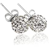 Shamballa Style Earrings 8mm Disco Ball on Silver Stud - Silver - SHIPPED FROM UK