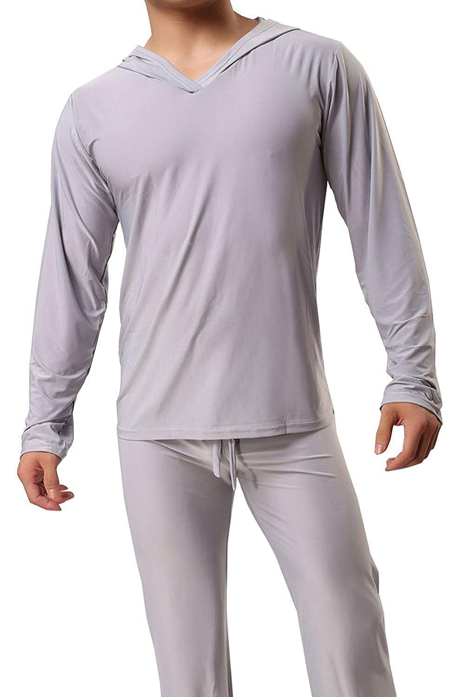 Mendove Men's Ice Silk Yoga Lounge Set Long Sleeve Top with Pajamas Pants