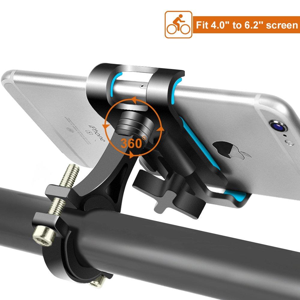 DeFe Soporte Móvil Bicicleta Giratorio 360 Grados Soporte Telefono Bici Universal Soporte para Bicicleta Moto para iPhone X/8/8 Plus Galaxy S9/S9 Plus/S8/S8 Plus y 4.0-6.2 Smartphones (Negro)