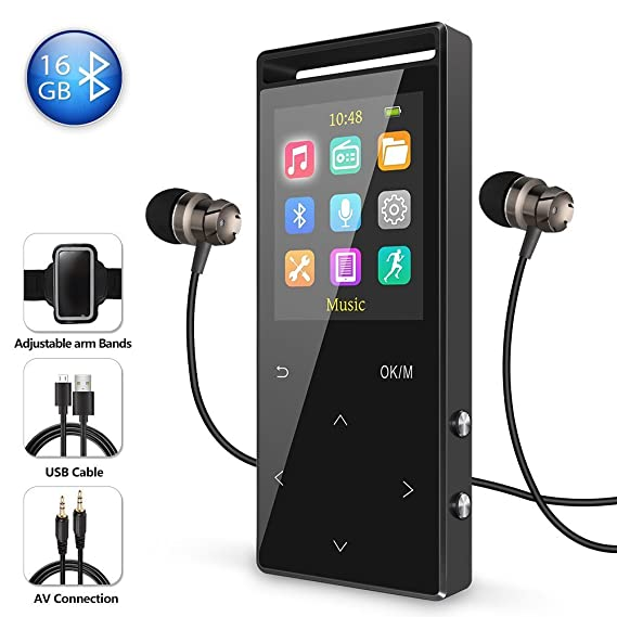 16GB Bluetooth MP3 Player with FM Radio/Voice Recorder, 60 Hours Playback, Lossless Sound,Metal Touch button, 1.8 Inch Color Screen, HD Sound Quality Earphone, with an Armband, Black and Bluetooth