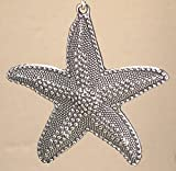 Large-Pewter-Silver-Starfish-Shell-with-faceted-glass-crystal-Ceiling-Fan-Pull-Chain