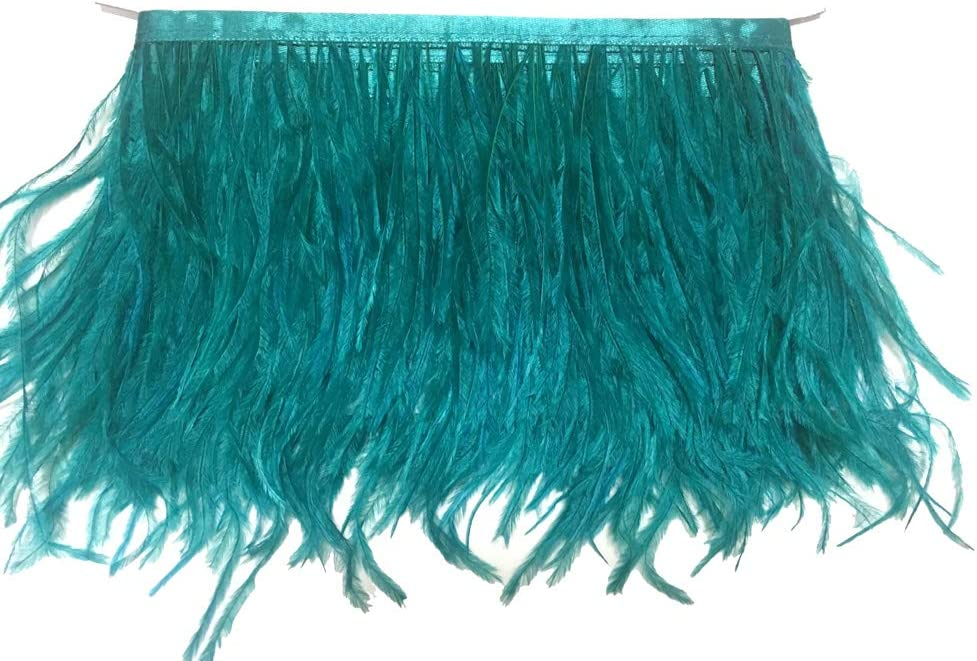 KOLIGHT Pack of 10 Yards Natural Dyed Ostrich Feathers Trim Fringe 4~5inch for DIY Dress Sewing Crafts Costumes Decoration Light-Green