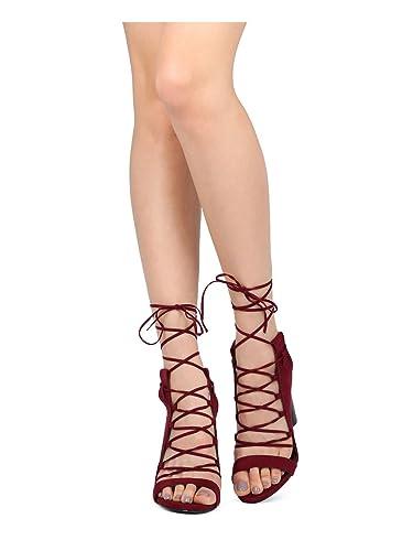 2e8dcc69b43 Wild Diva Women Faux Suede Open Toe Lace Up Block Heel Sandal GF99