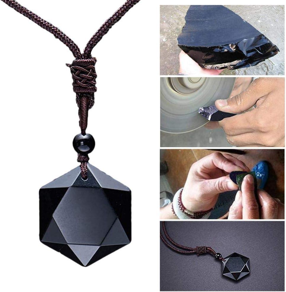 Colgante de obsidiana negra natural, colgante de obsidiana de la oración de adivinación, piedra energética, collar creativo colgante para hombres y mujeres, regalo del día de San Valentín