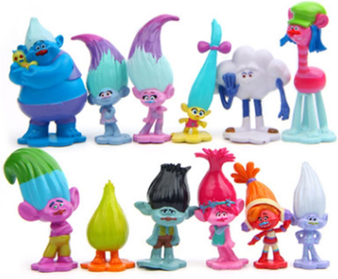 "12 Pcs Troll Toys, Mini Trolls Figures Collectable Doll, Trolls Action Figures, Cake Toppers, 1.18""-2.76"""