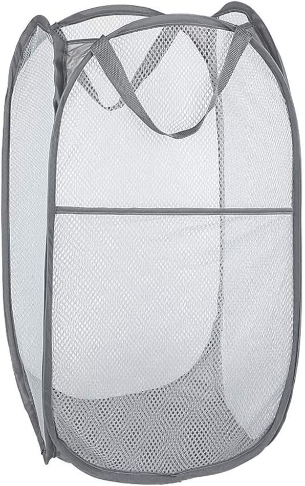 Bud Mesh Pop up Laundry Hamper, Collapsible for Storage, Portable Folding Pop-Up Clothes Hamper Laundry Basket for Kids Room, College Dorm or Travel, Grey