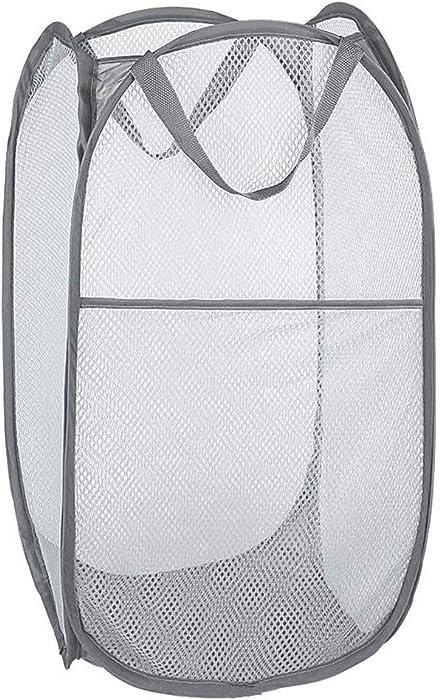 Bud Mesh Pop up Laundry Hamper, Collapsible for Storage, Portable Folding Pop-Up Clothes Hamper Laundry Basket for Kids Room, College Dorm or Travel, Grey