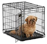 "Dog Crate | MidWest iCrate 24"" Folding Metal Dog Crate w/ Divider Panel, Floor Protecting Feet & Leak-Proof Dog Tray 