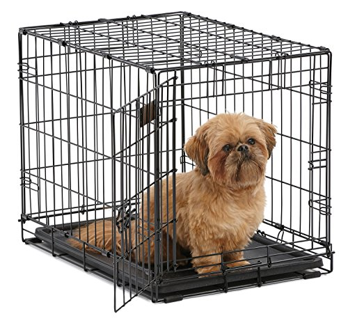 "Dog Crate | MidWest iCrate 24"" Folding Metal Dog Crate w/Divider Panel, Floor Protecting Feet & Leak-Proof Dog Tray 