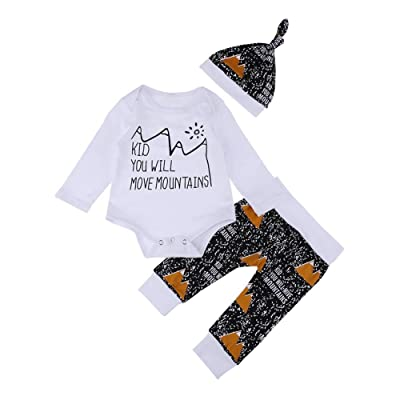 18d3e7a854b amazingdeal 3pcs Baby Infant Clothing Set Winter Letters Long Sleeve Romper  Pants Hat