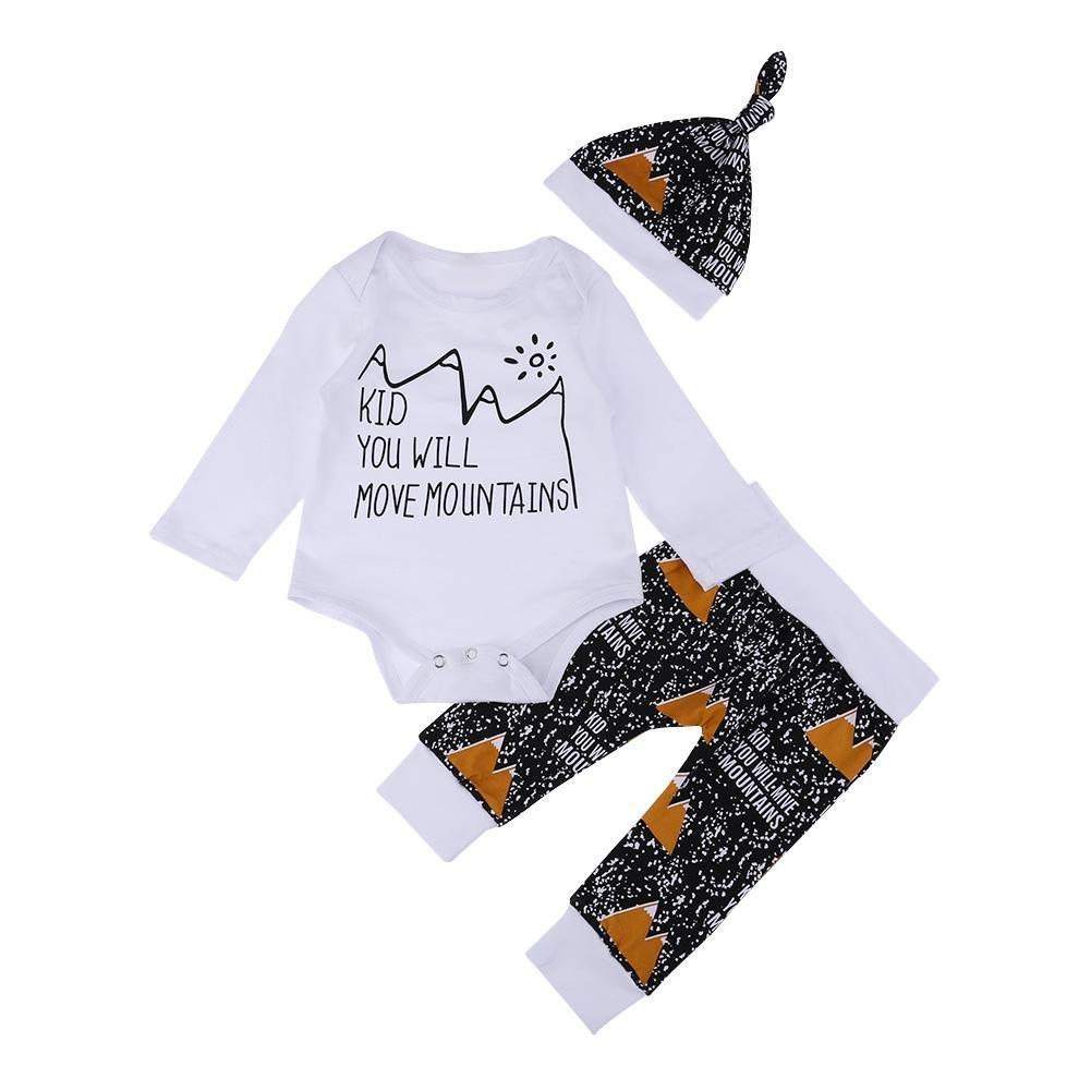 amazingdeal 3pcs Baby Infant Clothing Set Winter Letters Long Sleeve Romper Pants Hat