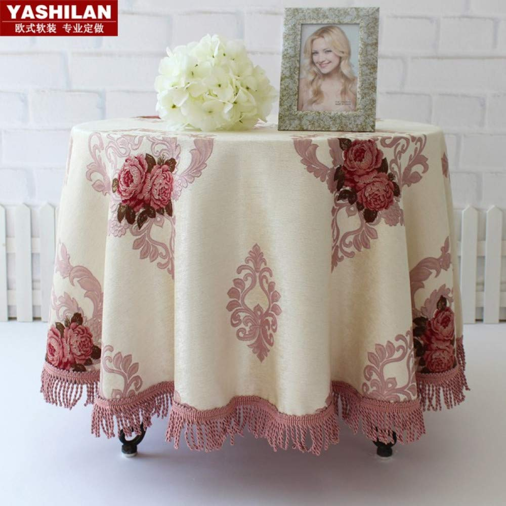 QQWWERTG rosa European High-End Luxury Round Tablecloth Round Tablecloth Home American Pastoral Style Table Cloth Fabric Cotton And Linen