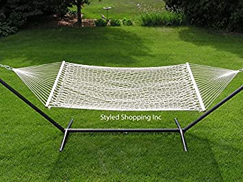 Styled Shopping Deluxe Two Person White Rope Hammock Set – Metal Stand Included