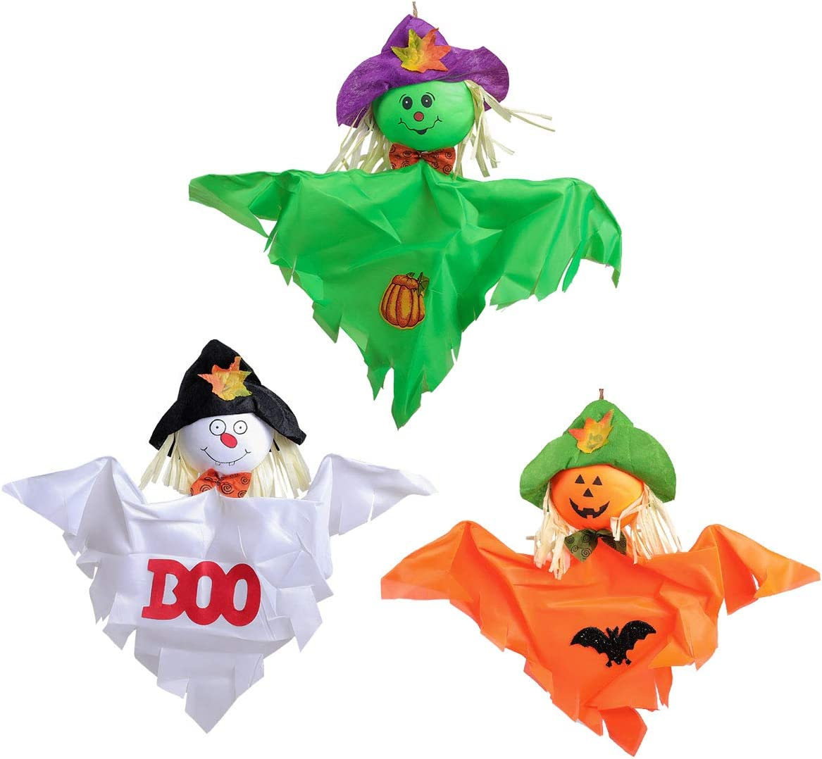 3 PCS Halloween Hanging Ghost for Indoor Outdoor Outside Front Yard Tree Patio Decoration, Scarecrow Design Halloween Funny Cute Decor Ornaments, Orange + Green + White