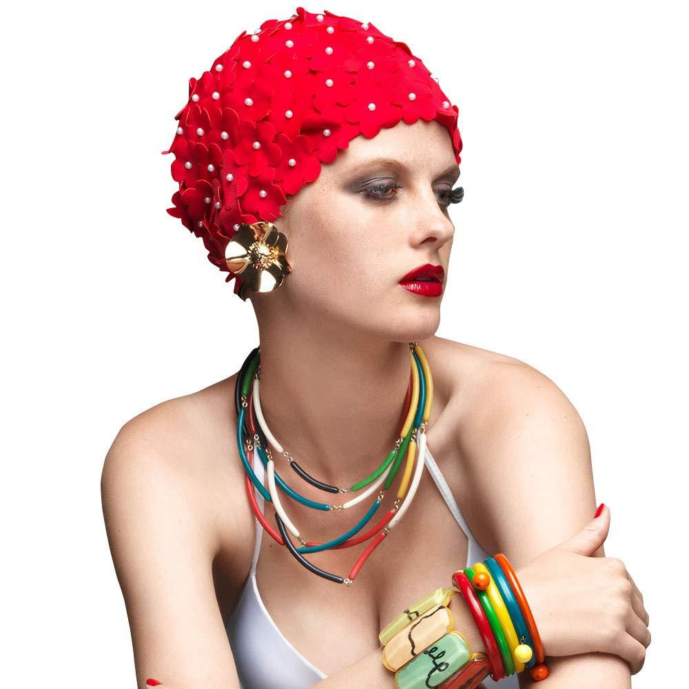 BALNEAIRE Flowers Swim Cap Pearl Floral Swim Cap Hat Long Hair Swimming Caps