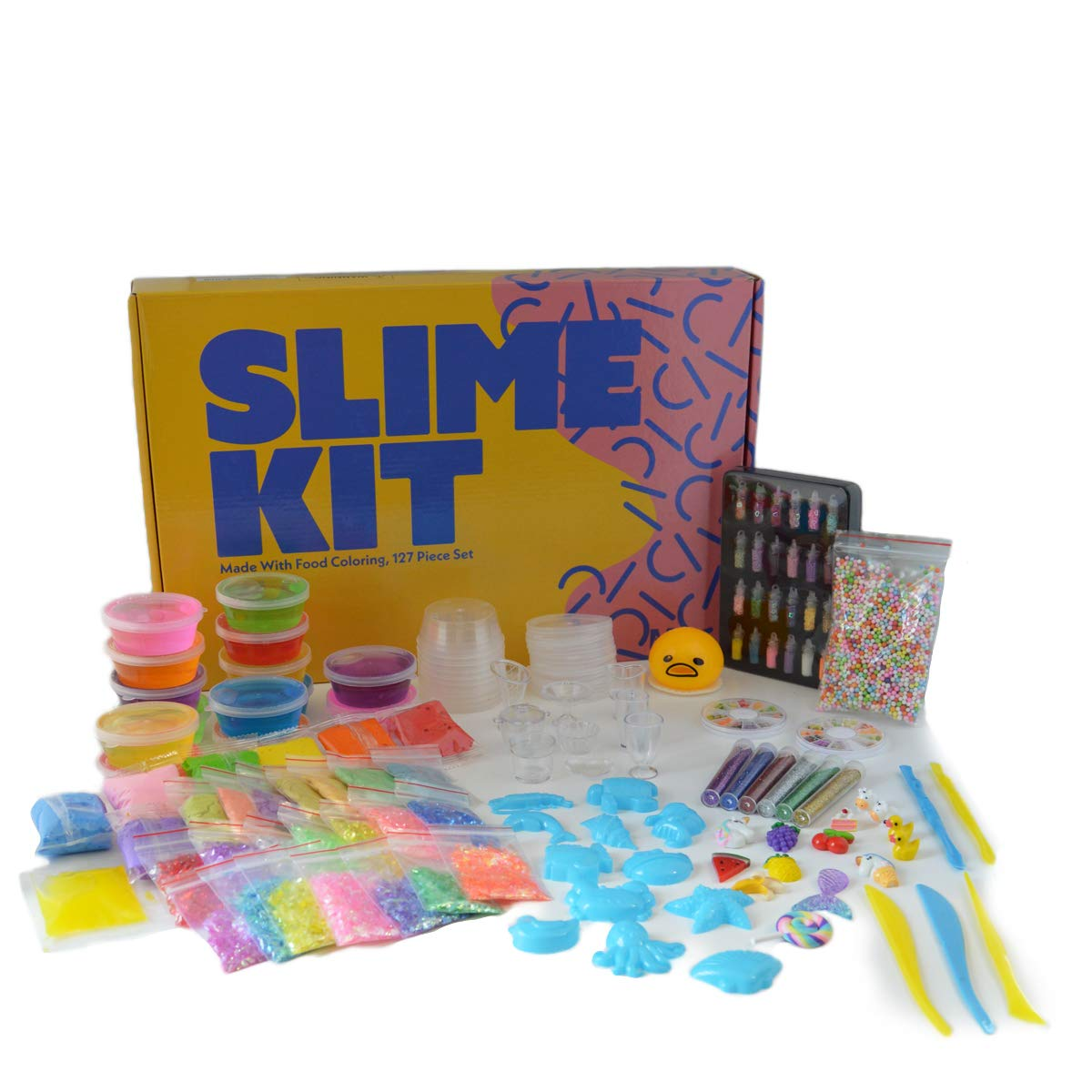 Ultimate DIY Slime Kit|Water Resistant mats|Kinetic Sand|ASMR|Charms|Beads|Emoji Toy|Mermaid Tail|Unicorn|Accessories|Made with Food Coloring|Stimulates Learning Through Touch Sound Sight|127 Pcs