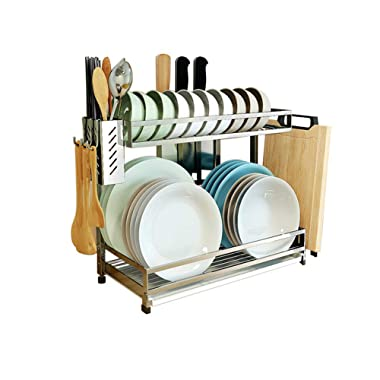 304 Stainless Steel Dish Dryer Rack,Cutting Board Holder and Kitchen Dish Drainer for Kitchen Counter Top, Silver 17.3x6.1x13.5inch