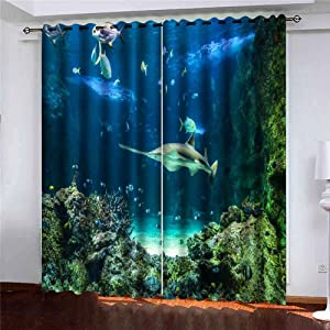 Shorping 52X84 Inch Beautiful Sheer Window Curtains Blackout Window Curtain Panel Large Also Known as Shark and Other Fishes Swimming in Aquarium Carpenter Blackout Window Curtain for Bedroom, 2 Pc