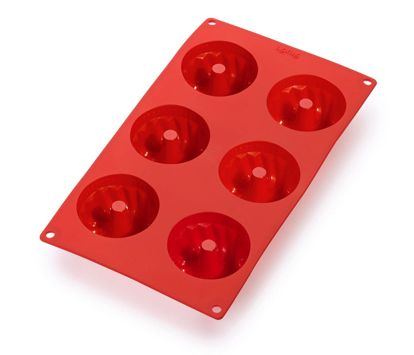 Lekue 6 Cavities Savarin Mini Multi Cavity Baking Mold, Red