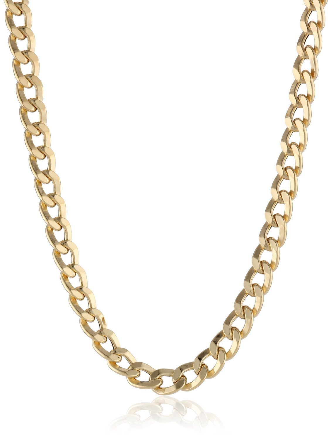 14K Solid Yellow Gold 3.8mm Cuban Curb Link Chain Necklace- Lobster Claw Clasp- 24''