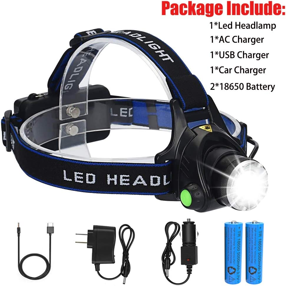 Super Bright Led Headlamp Rechargeable Headlight 18650 Battery with Charger