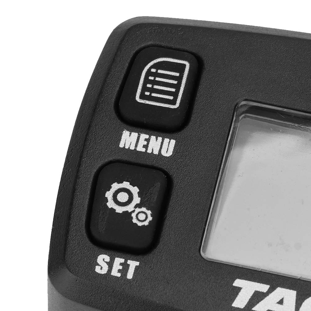 Aramox Motorcycle Tachometer LCD Digital Tachometer Resettable Tach Hour Meter Record RPM for Gasoline Engine 2//4 Stroke