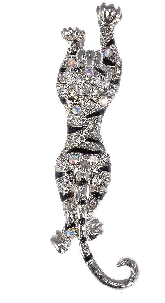 Modeschmuck Damen Brosche Tiger Silberfarben mit Strass