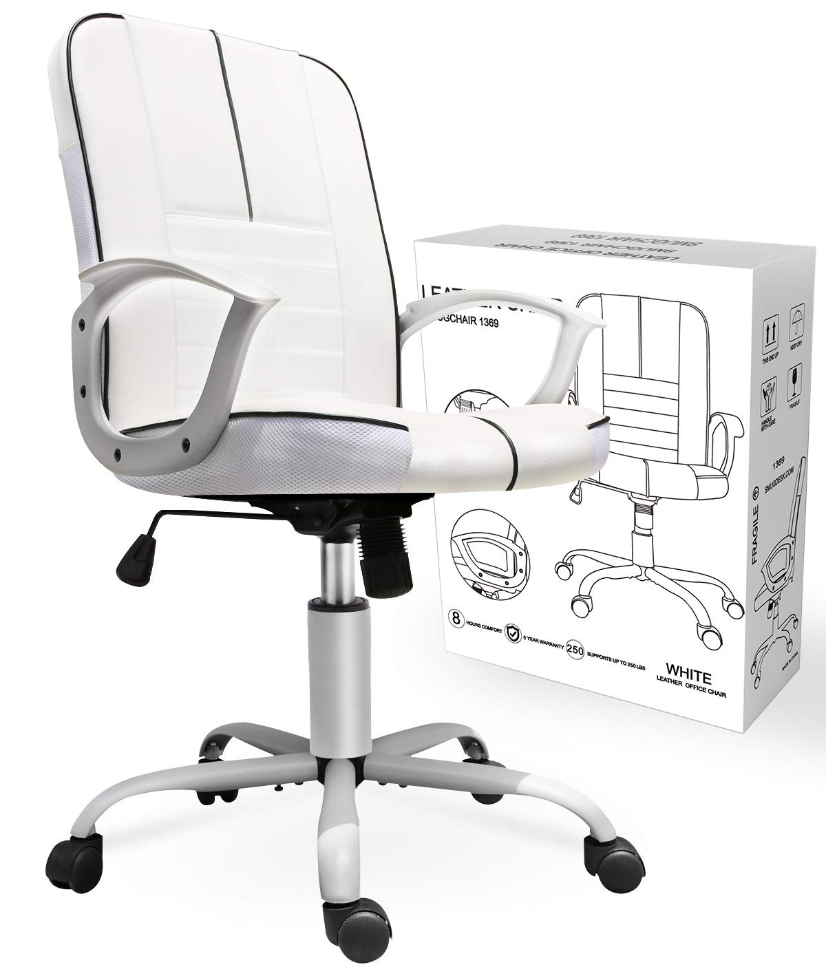 super popular bc5ba e1efd Smugchair Office Ergonomic Office Chair Executive Bonded Leather Computer  Chair,White