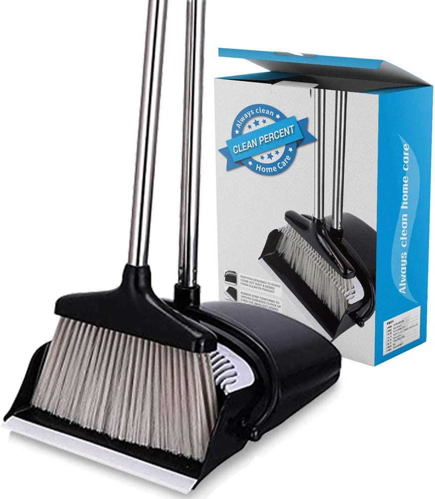 CLEAN PERCENT Broom and Dustpan Set Strongest Heavier Duty Upright Standing Dust Pan with Extendable Broomstick for Easy Sweeping Easy Assembly Great Use for Home Kitchen Room Office Lobby
