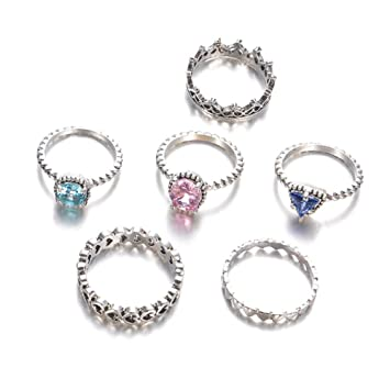 CAOLATOR. 6pcs Conjunto de Anillos Simple Vintage Determinados del ...