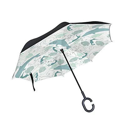 AHOMY Dolphin Fish Large Double Layer Inverted Umbrella Windproof Travel Umbrella