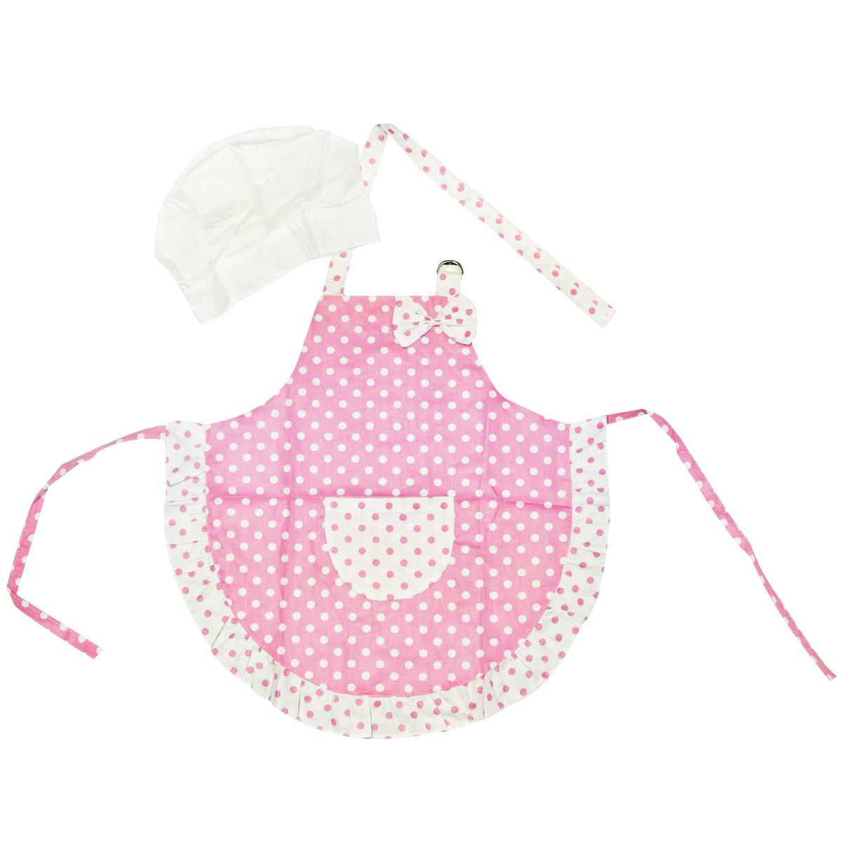 Kella Milla Pink Polka Dots and Ruffles Kids Apron & Hat Set Wrapables