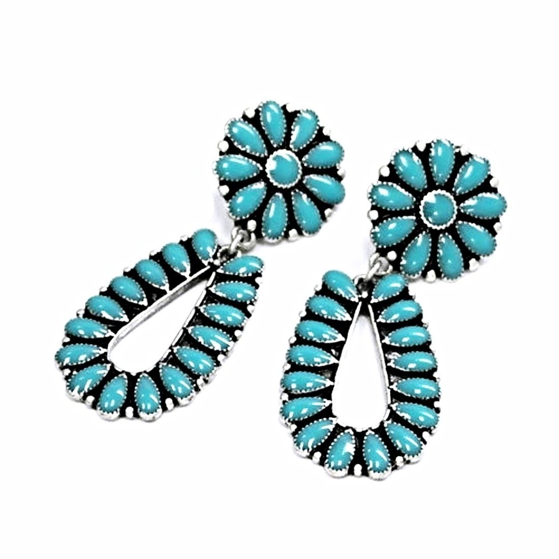 Turquoise and Silver Antique Native Navajo Earrings