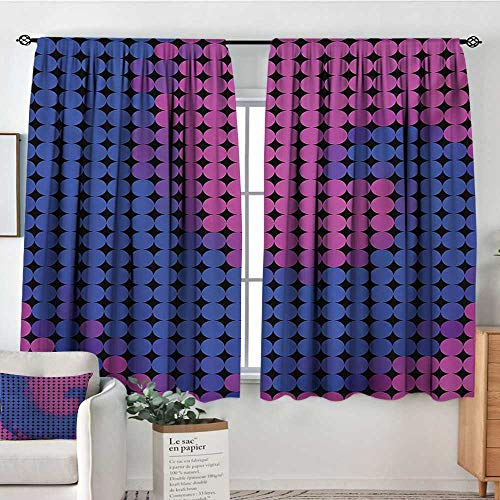 Mozenou Spires Window Curtain Drape Spiral Background with Pixel Dotted Flat Design Odd Gradient Artistic Style Print Door Curtain Blackout 72