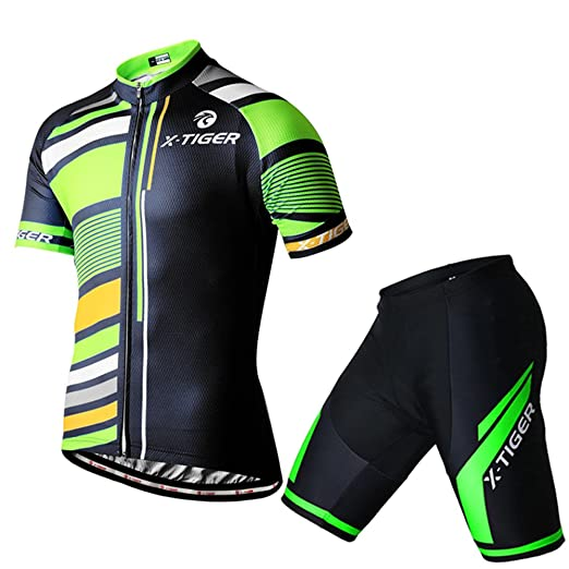 ce3935ac0 Amazon.com  X-TIGER Comfortable Breathable Bicycle Cycling Short Sleeve Clothing  Set Jersey and Bib Short  Clothing