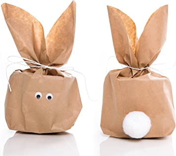 5 St/ück SET kleine Ostern Geschenkt/üten OSTERHASE basteln natur braun 16,5 x 26 x 6,6 cm witzige Ostert/üte Verpackung Kinder Erwachsene als Osternest give-away Geschenke verpacken Hasenohren