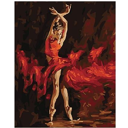 dingji Ballet tema salón bricolaje pintura pintada a mano sobre lienzo de pared en casa